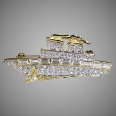 Vintage Goldtone Pave Crystal Yacht Pin Complete with Anchor