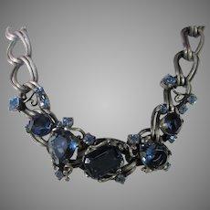 Vintage Signed Ledo Blue Crystal Necklace in Pewter Tones