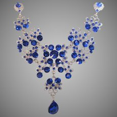Vintage Silver Tone Deep Blue Crystal Necklace and Matching Pierced Earrings
