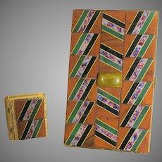 Vintage Goldtone Card Holder Matching Pill Box With Bakelite Tiles