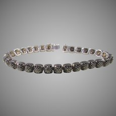 Sterling Silver Marcasite Bracelet With Box Clasp and Safety Closure