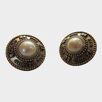 Vintage Pierre Balman Paris Clip on Earrings In Brushed Goldtone With Faux Pearl Center