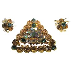 Hattie Carnegie Matching Pin and Clip On Earrings