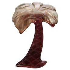 Early Lucite Applesauce Palm Tree Brooch
