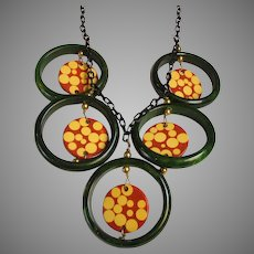 Bakelite Artist Signed Statement Necklace on Lucite Chain by Jan Carlin
