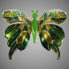 Vintage Butterfly Pin in Green and Gold Enamel With Original C Clasp