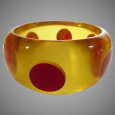 Bakelite Applejuice Cuff With Cherry Red Dots By Teresa