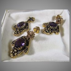 14 Karat Amethyst Pendant and Matching Pierced Amethyst Earrings