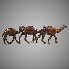 Vintage Copper Tone Trio of Camels