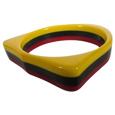Bakelite Three Tone Laminated Cuff Yellow, Black and Red