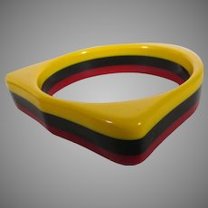 Bakelite Three Tone Laminated Cuff Yellow, Black and Red
