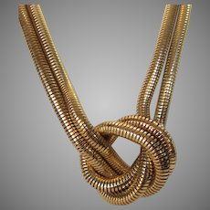 Vintage Gold Tone Double Knotted Necklace Signed NY