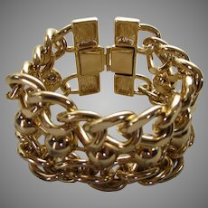 Vintage Erwin Pearl Goldtone Link Bracelet Extra Wide
