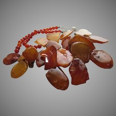 Sterling Silver Natural Stone Necklace in Shades of Goldtone and Brown