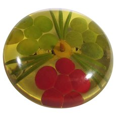 Bakelite Reverse Carved Apple Juice Pin With Painted Flowers and Leaves