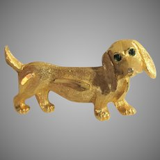 Vintage Goldtone Dachshund Pin With Green Emerald Eyes