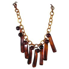 Bakelite Applejuice Geometric Drops On Celluloid Chain