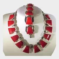 Vintage Set by Charel Necklace and Bracelet in Red Marbled Cherry Red Lucite