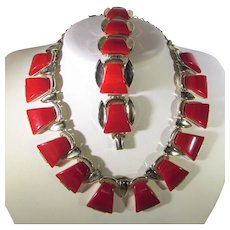 Bakelite Silver Tone Set by Charel Necklace and Bracelet in Red Marbled Cherry Red Bakelite