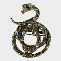 Vintage Goldtone Green Eyed Serpent With a Red Tongue