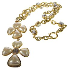 Chanel Faux Pearl Statement Necklace With Double Pendants