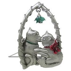 Vintage Cats Kissing Under the Mistletoe With Red and Green Enamel Accents