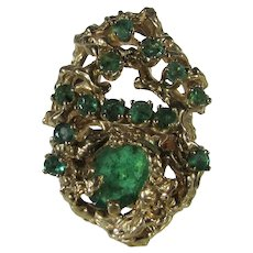 14 Karat Yellow Gold Unique Emerald Ring in Modernist Organic Setting