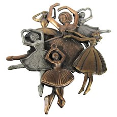 Vintage Six Ballerina Dancers Pin Combining Copper and Pewter