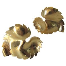 Vintage Goldtone Leaf Form Clip On Earrings