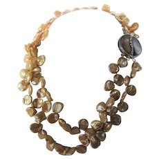 Vintage Golden Keshi Pearls Double Strand With Mother of Pearl Crystal Focal Clasp