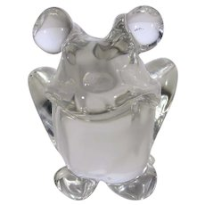 Crystal Sitting Frog Clear With BIg Eyes and BIg Grin Paperweight