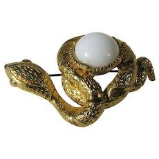 Vintage Goldtone Snake Guarding White Art Glass Egg