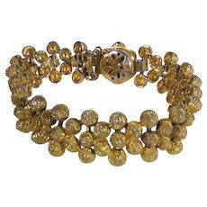 Vintage Brushed Goldtone Bracelet with Box Clasp