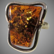 Sterling Silver Amber Ring in Free Form Shape