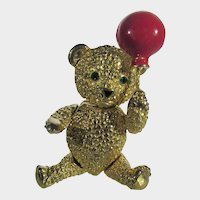 Vintage Goldtone Jointed Bear with Red Balloon Pin or Pendant