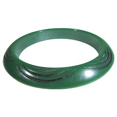 Bakelite Carved and Painted Cuff is Deep Green With Black Accents