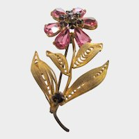 Vintage Signed Czecho Goldtone Floral Pin With Unbacked Crystals in Pink and Purple