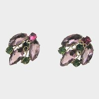 Vintage Clip on Earrings With Pastel Unbacked Crystals