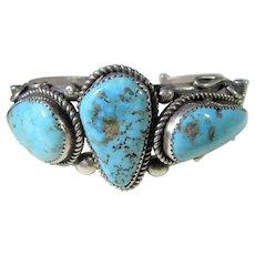 Sterling Silver Native American Navajo Artist Gilbert Adakai Turquoise Cuff
