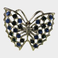 Vintage Butterfly Pin in Silver Tone Sprinkled With Blue Aurora Borealis Crystals and Deep Red Eyes