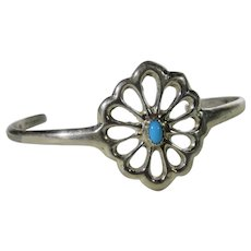 Sterling Silver Petite Bracelet with Turquoise Accent