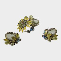 Vintage Regency Pin and Matching Clip On Earring Set With Unbacked Crystals and Faux Pearls