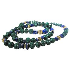 Vintage Malachite Bead Necklace With Gold Filled Accent Beads and Lapis Lazuli Chip Intervals