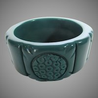Carved Chunky Cuff in Teal