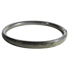 Sterling Silver Engraved Bangle with Bar Extension