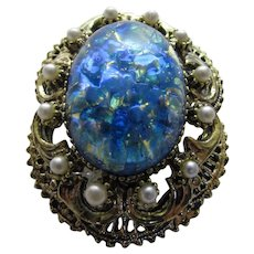 Vintage Pin With Blue Speckled Art Glass Center and Faux Pearl Surround