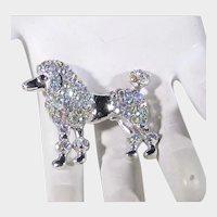 Vintage Poodle Pin in Aurora Borealis Crystals