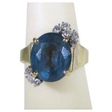 14 Karat Yellow Gold London Blue Topaz With Diamond Accents