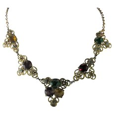 Vintage 1930's Brass and Glass Necklace