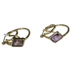 14 Karat Yellow Gold Triple Hoops With a Pair of Amethysts